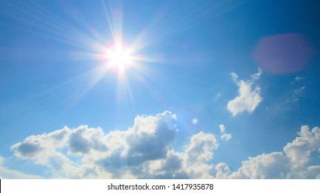 sun on the background of a blue sky with white clouds