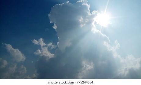 Sun on cloudy sky image set