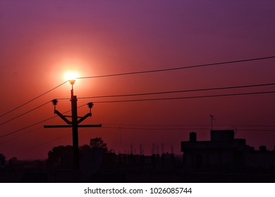 the sun up on light pole  and look like lamp