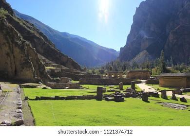 Sun over Inca Site on Inca Trail, Peru