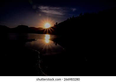 Sun over a Mountain Silhouette in Gran Canaria Spain
