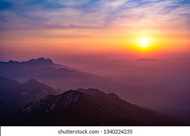 The sun over the mountains