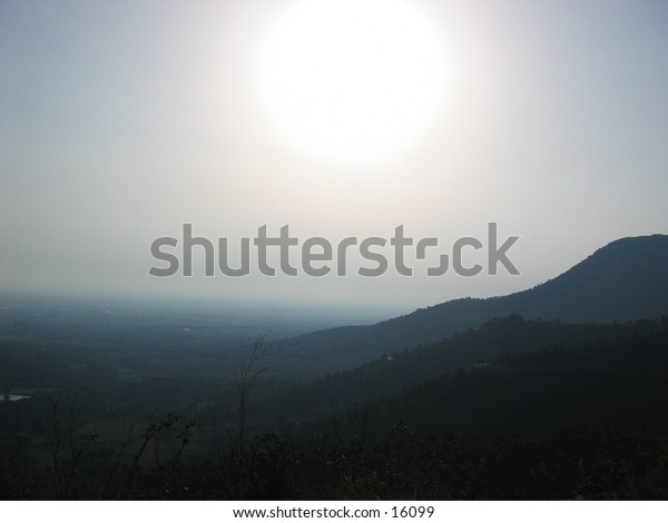 Sun over mountains in Spain.