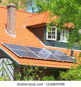 Sun panel system on roof of traditional house