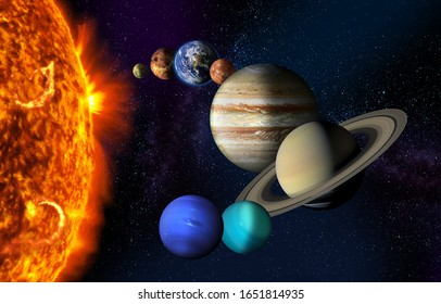 Sun and the planets of our Solar system on starry space background. Image elements furnished by NASA.