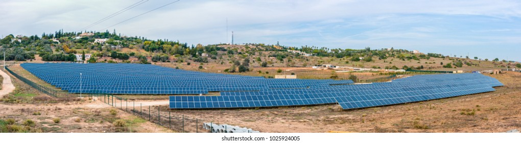 sun power field at the Algarve Portugal, solar panels in the field