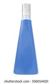 Sun protecting cream blue bottle, isolated on white background