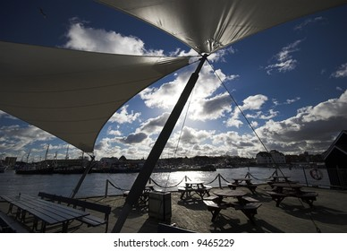 Sun protection sail and open air cafe