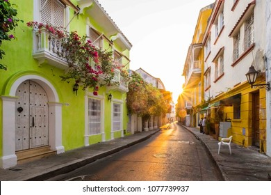 Sun ray during sunrise in the streets of Cartagena, Colombia
