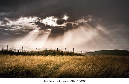 Sun rays after storm Mourne mountains, Northern Ireland