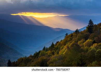 Sun Rays at Dawn in Great Smoky Mountains  National Park