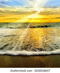 Sun Rays Emanate From The Ocean Sunset Sky As A Flock Of Birds Fly By On The Horizon And A Gentle Wave Rolls to Shore In Vertical Image Format