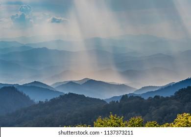Sun Rays Fall Over Blue Ridge Mountains along the Blue Ridge Parkway