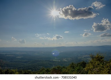 Sun rays and Landscape view from view point of Shenandoah National Park, Virginia.