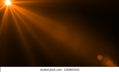 Sun rays light isolated on the black background for overlay design ( screen blending mode layer)