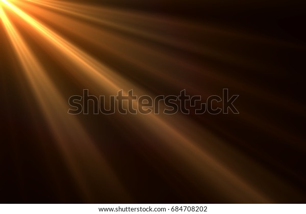 Sun rays light isolated on black background for overlay design