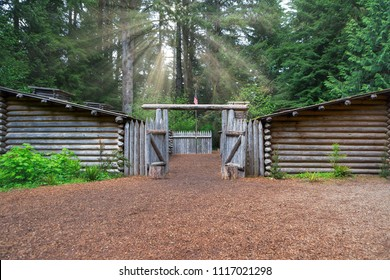 Sun Rays over Fort Clatsop in Lewis and Clark National Historical Park in Oregon