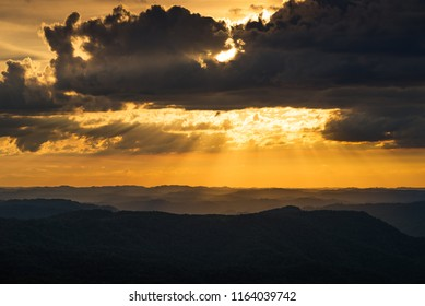 Sun rays over Kentucky's Appalachian Mountains from Kingdom Come State Park