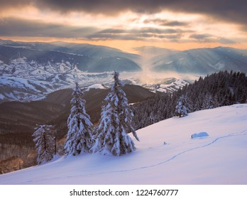 Sun rays over the mountains valley in winter. National Park Synevyr, Ukraine