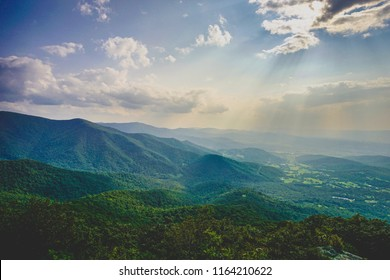sun rays over shenandoah valley