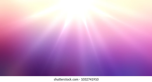 Sun rays top purple sky banner. Iridescent ombre empty background. Pink violet yelow glare blurred texture. Romantic abstract illustration. Colored defocused pattern.