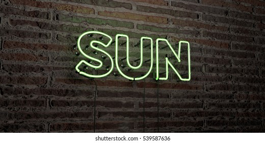 SUN -Realistic Neon Sign on Brick Wall background - 3D rendered royalty free stock image. Can be used for online banner ads and direct mailers.