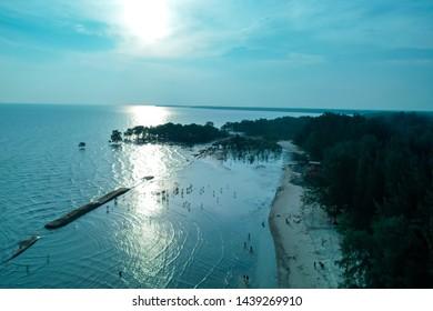 Sun Reflection At The Beach Of Kelanang Banting With selective focus