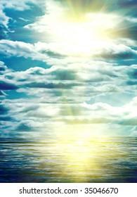 Sun reflexion in water