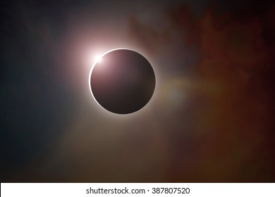Sun ring phenomenon: Total solar eclipse.