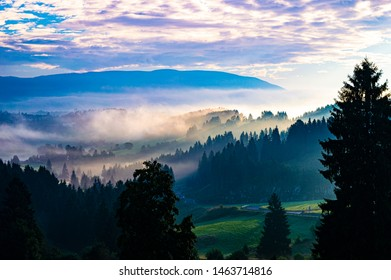 sun rise foggy in the valley in Asiago