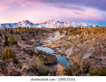 Sun rise at Hot Creek Geological Site, Mammoth Lakes, CA