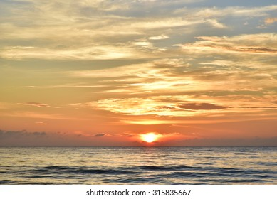 The sun rise in the morning seaside beautiful