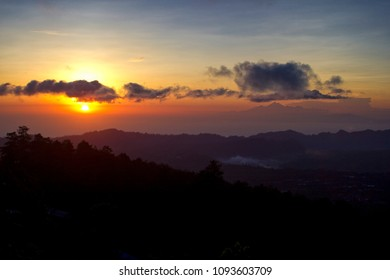 Sun rise on Bali Mountains