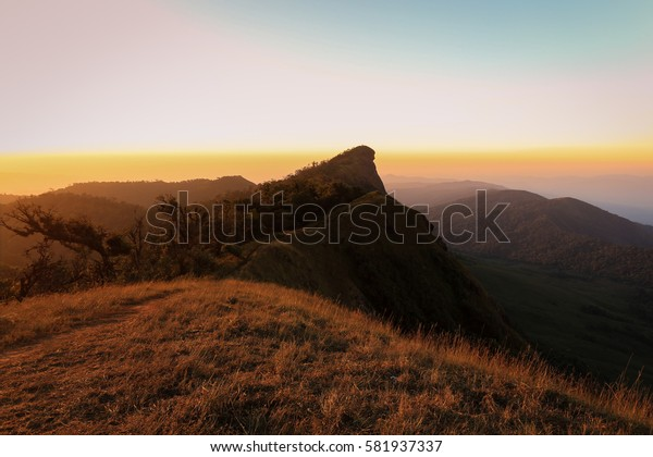 Sun rise on dry grass on the mountain at doi monjong, chiangmai, thailand
