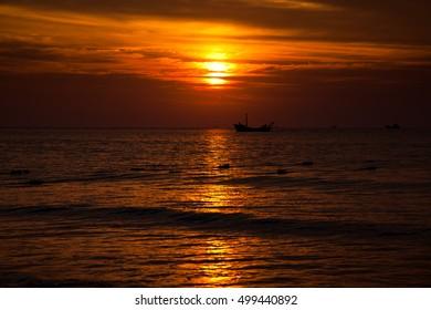 sun rise on the sea