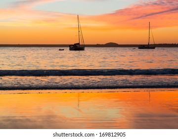 Sun rise over the beach at Coffs Harbour in New South Wales Australia