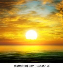 sun rise over the sea