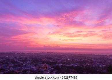sun rise over small town at Uthai Thani, Thailand