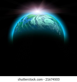 sun rise and planet illustration isolated on black