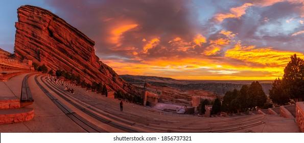 sun rise at red rocks amphitheater in Morrison Colorado