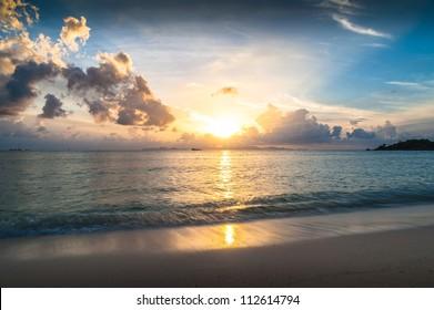 sun rise time at Hua-Hin beach in Thailand