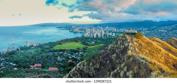 Sun rise view of Honolulu from top of Diamond Head look out