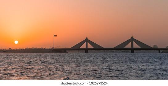The sun rises in Bahrain.