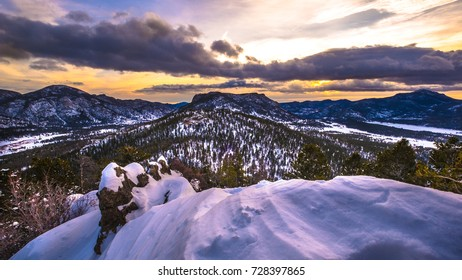 The sun rises at Many Parks Overlook at Rocky Mountain National Park