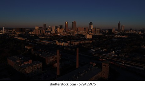 As the Sun Rises over the City of Atlanta,  Aerial View