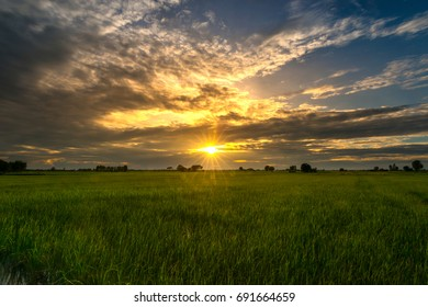 The sun rises over the fields.sunset with dark cloud.