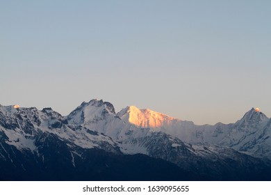 Sun rises over the Ganesh Himal range in Himalayas, Nepal. Gamesh Himal 1 at 7422m is the highest peak in the range.