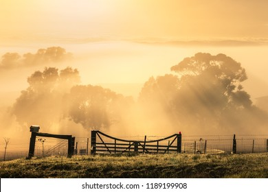 Sun rises over a misty rural scene
