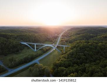 The sun rises over the Natchez Trace bridge in Franklin, TN.
