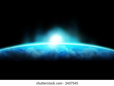 A sun rising above the earths surface.